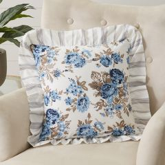 Floral With Ruffle Throw Pillow
