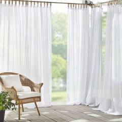 Clean and Crisp Tab Top Sheer Curtain Panel Set of 2 52x84