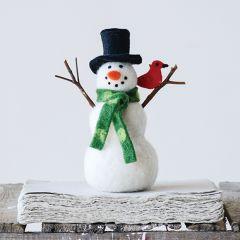Felt Snowman With Cardinal Figurine Set of 2