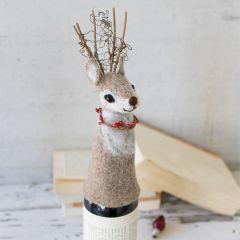 Festive Deer Felt Wine Topper Bundle