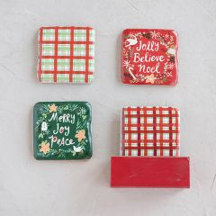 Festive Holiday Coasters in a Box Set of 5