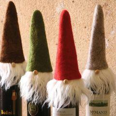 Festive Santa Felt Wine Topper Set of 4