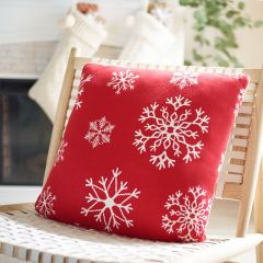 Festive Snowflake Pattern Accent Pillow