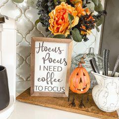 Hocus Pocus I Need Coffee To Focus White Wall Art