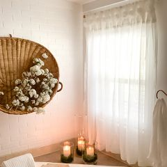 Rosette Embellished Tab Top Curtain Panel Set of 2 50x84