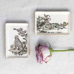Decorative Stoneware Jungle Cat Plates Set of 2