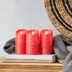 Flameless Frosted Red Pillar Candle Set of 3