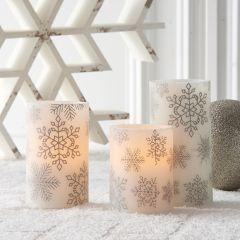 Flameless Silver Snowflake Pillar Candle Set of 3