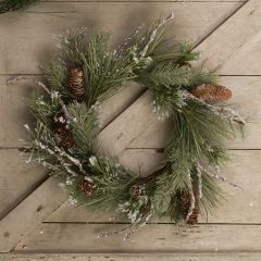Flocked Twig and Pinecone Wreath 14 Inch