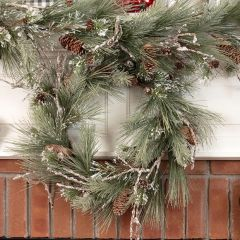 Flocked Twig and Pinecone Wreath 24 Inch