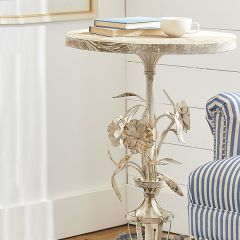 Floral Detailed Round Accent Table