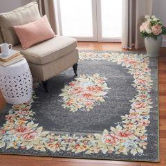 Floral Grey/Pink Area Rug