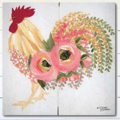 Floral Rooster Wrapped Canvas Wall Art
