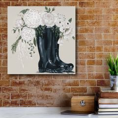 Flowers In Boots Canvas Wall Art