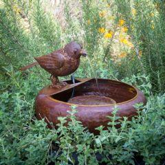 Little Bird Folk Art Water Fountain