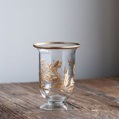 Footed Etched Glass Vase Set of 2