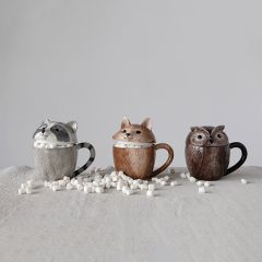 Forest Friends Mugs With Lids Set of 3