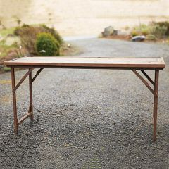 Found Wood and Metal Folding Tent Table