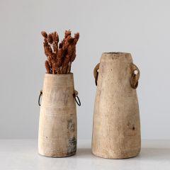 Found Wood Rustic Milk Jug Vase