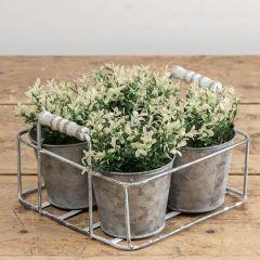 Four Pot Whitewash Metal Planter With Handles