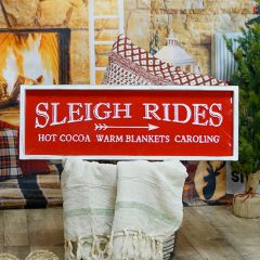 Framed Metal Sleigh Rides Wall Sign