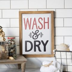 Framed Metal Wash And Dry Sign