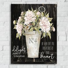 French Country 1 Vase Floral Canvas Art, Delight Heart