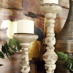 French Country Distressed Candle Holders, Set of 2