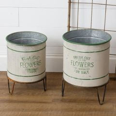 Fresh Cut Flowers Planter On Metal Stand Set of 2