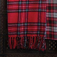 Fringed Plaid Cotton Throw Blanket