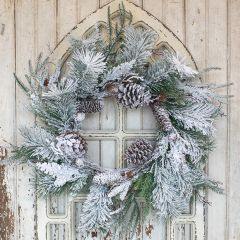 Frosted Mixed Pine Wreath
