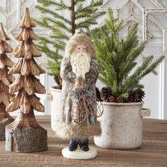 Fur Trimmed Standing Winter Santa Figurine