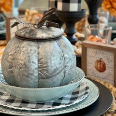 Galvanized Lidded Pumpkin With Leaves And Stem