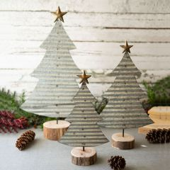 Galvanized Tin Tabletop Christmas Tree Set of 3