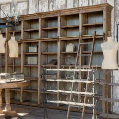 General Store Shelf Unit With Sliding Ladder