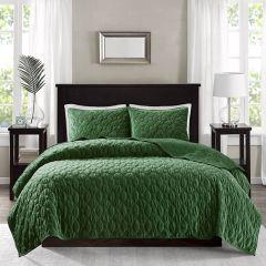 Geometric Faux Velvet Reversible 3 Piece Bedding Set