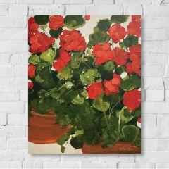 Red Geranium Canvas Wall Art