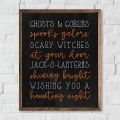 Ghosts And Goblins Rustic Halloween Sign