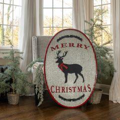 Giant Oval Merry Christmas Deer Sign