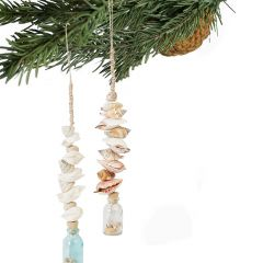 Glass Bottle and Seashell Ornament Set of 2