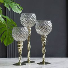 Glass Cup Candle Holders Set of 3