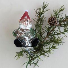 Glass Santa Gnome Ornaments Boxed Set of 3