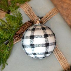 Glitter Buffalo Check Ball Ornament Set of 2