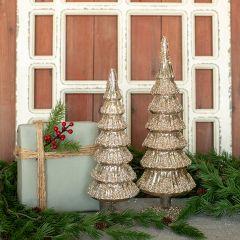 Glitter Snow Silver Glass Tree