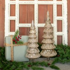 Glitter Snow Silver Glass Tree Set of 2