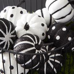 Glittered Black and White Decorative Pumpkins Bundle