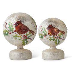 Glittered Glass Holiday Pedestal Globe Set of 2