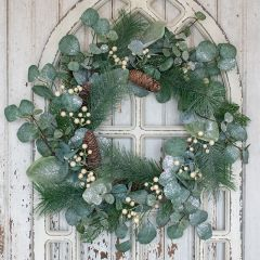 Glittery Pinecone And Berries Wreath