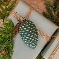 Gold Accented Glass Pinecone Ornament Set of 2