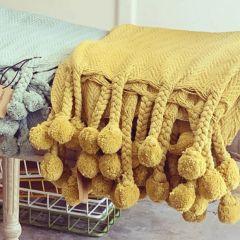 Gold Cotton Throw With Pom Pom
